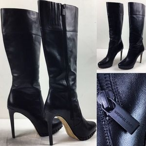 Michael Kors All Black Leather Knee High Stilettos